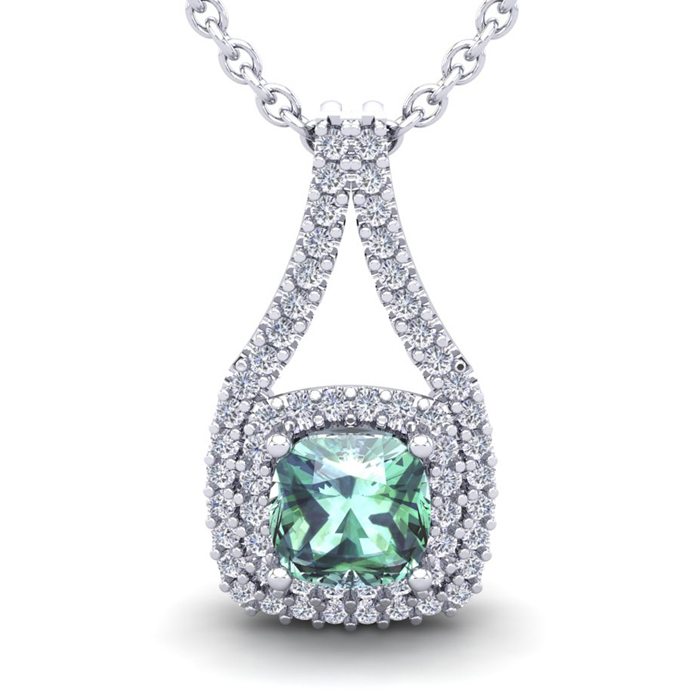 1 Carat Cushion Cut Green Amethyst & Double Halo Diamond Necklace