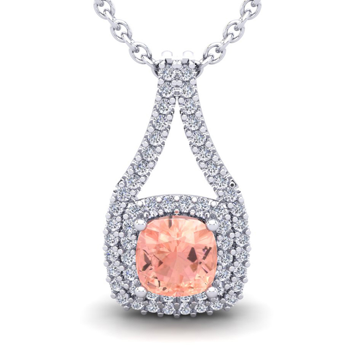 1.25 Carat Cushion Cut Morganite & Double Halo Diamond Necklace i