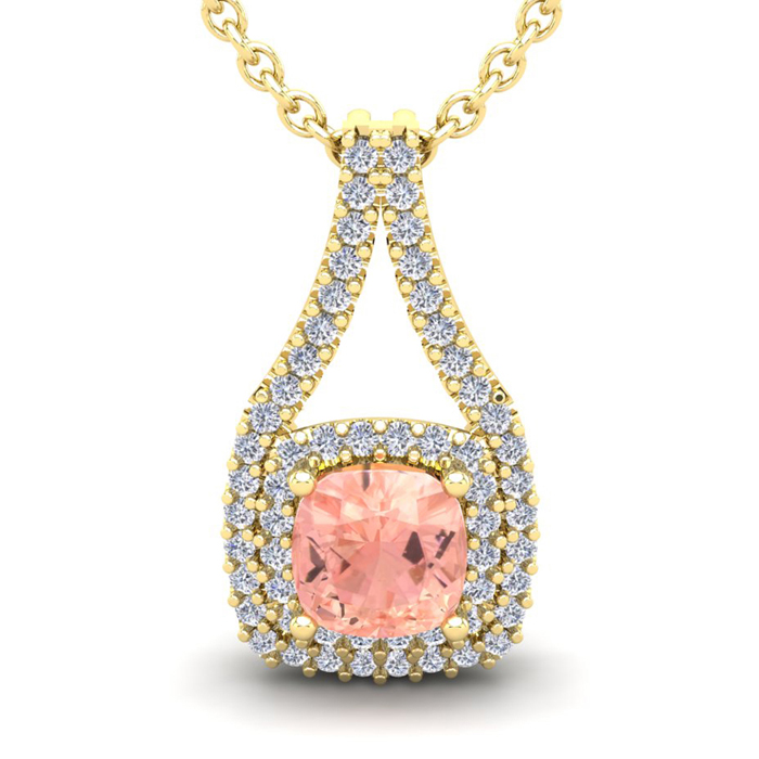 1.25 Carat Cushion Cut Morganite & Double Halo Diamond Necklace in 14K Yellow Gold (2.8 g), 18 Inches, I/J by SuperJeweler