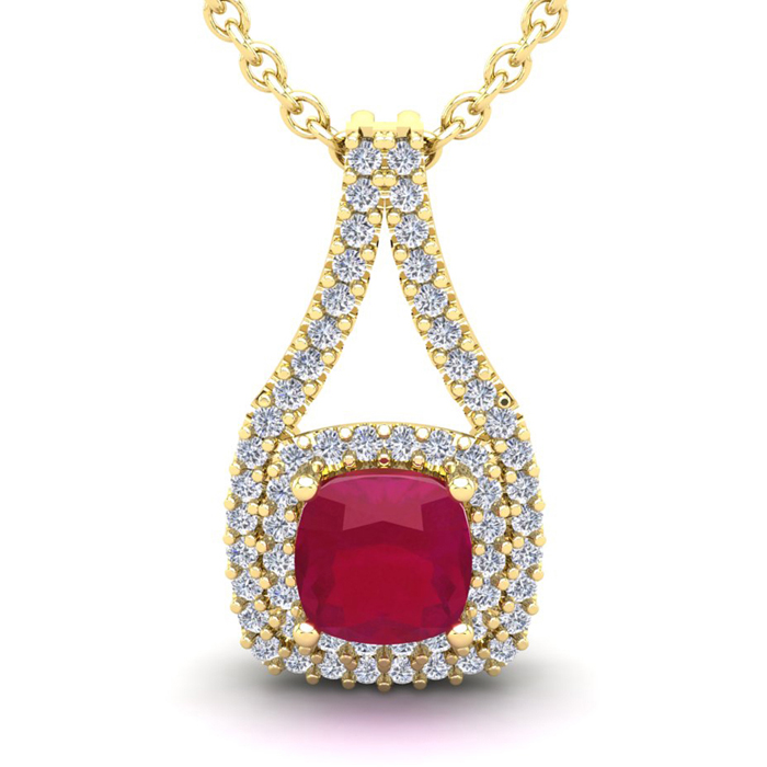 1 2/3 Carat Cushion Cut Ruby & Double Halo Diamond Necklace in 14