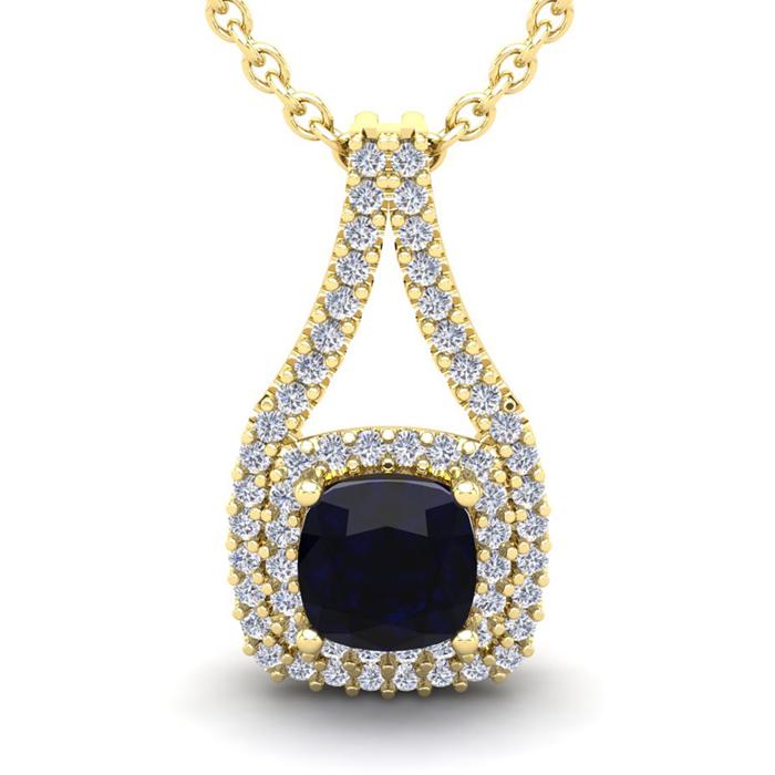 1 1/3 Carat Cushion Cut Sapphire & Double Halo Diamond Necklace i