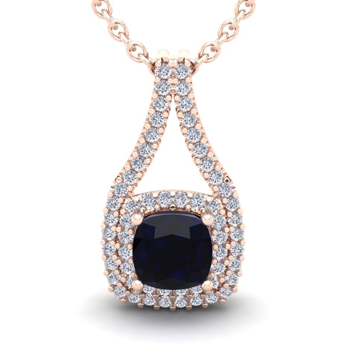 1 1/3 Carat Cushion Cut Sapphire & Double Halo Diamond Necklace i