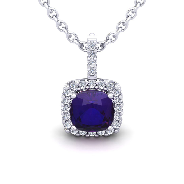 2.5 Carat Cushion Cut Amethyst & Halo Diamond Necklace in 14K Whi