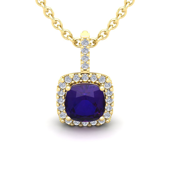2.5 Carat Cushion Cut Amethyst & Halo Diamond Necklace in 14K Yel
