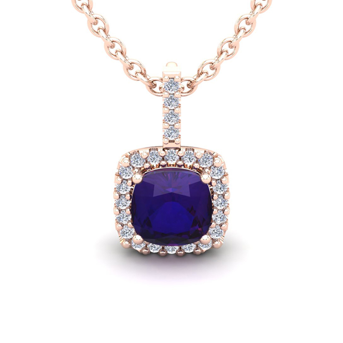 2.5 Carat Cushion Cut Amethyst & Halo Diamond Necklace in 14K Ros