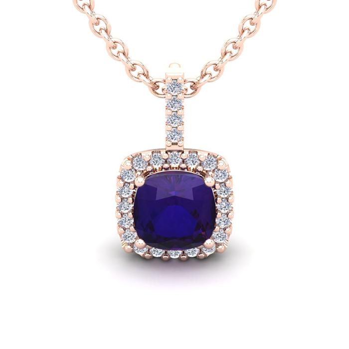 2.5 Carat Cushion Cut Amethyst & Halo Diamond Necklace in 14K Ros