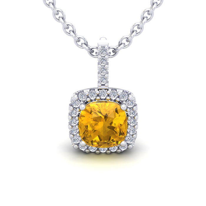 2.5 Carat Cushion Cut Citrine & Halo Diamond Necklace in 14K Whit