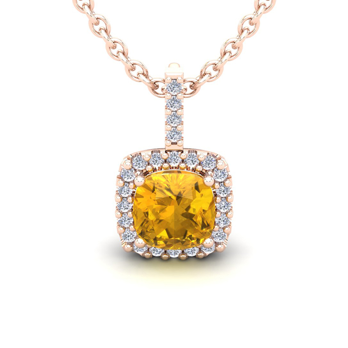 2.5 Carat Cushion Cut Citrine & Halo Diamond Necklace in 14K Rose