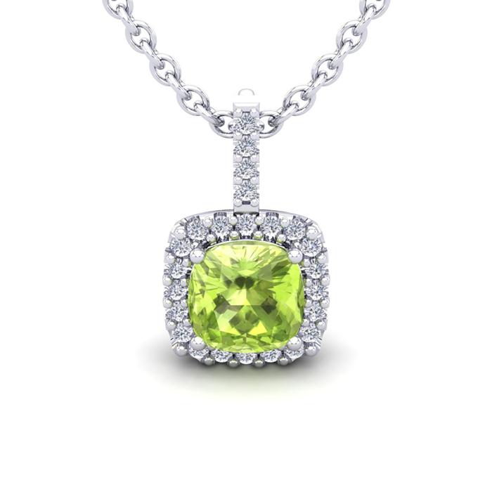 3 Carat Cushion Cut Peridot & Halo Diamond Necklace in 14K White
