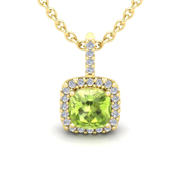 3 Carat Cushion Cut Peridot & Halo Diamond Necklace in 14K Yellow