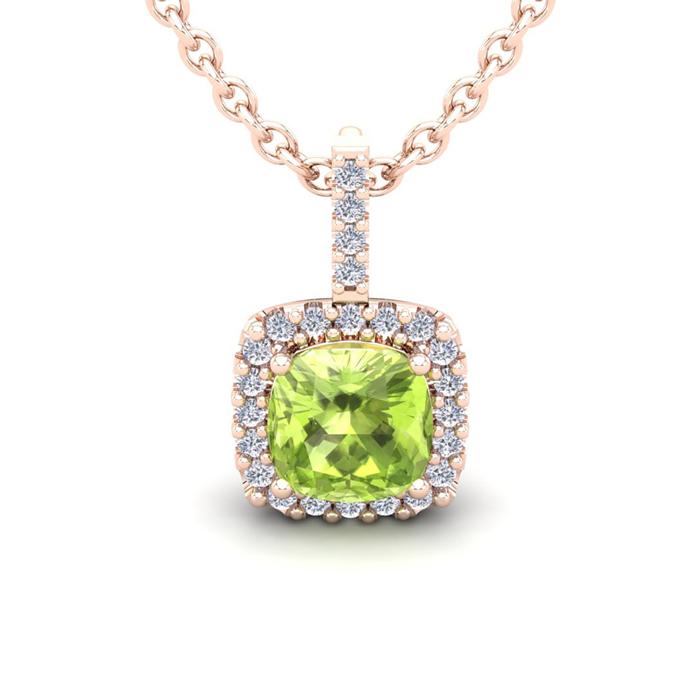 3 Carat Cushion Cut Peridot & Halo Diamond Necklace in 14K Rose G