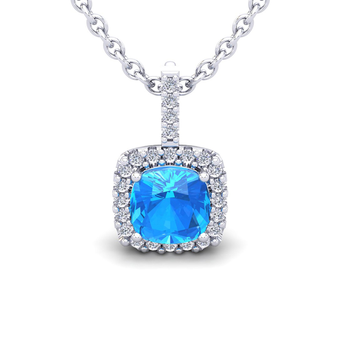 3 Carat Cushion Cut Blue Topaz & Halo Diamond Necklace in 14K Whi