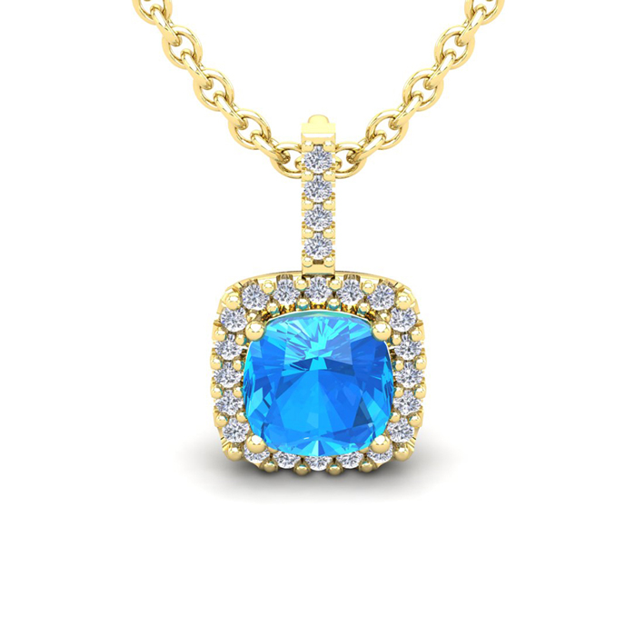 3 Carat Cushion Cut Blue Topaz & Halo Diamond Necklace in 14K Yel