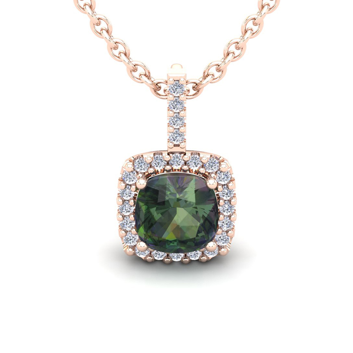 2.5 Carat Cushion Cut Mystic Topaz & Halo Diamond Necklace in 14K