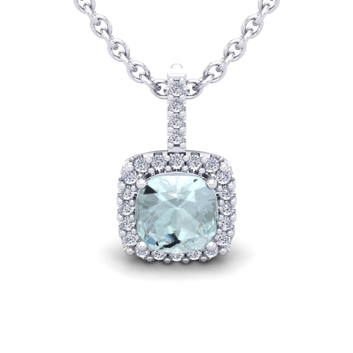 2.5 Carat Cushion Cut Aquamarine & Halo Diamond Necklace in 14K W