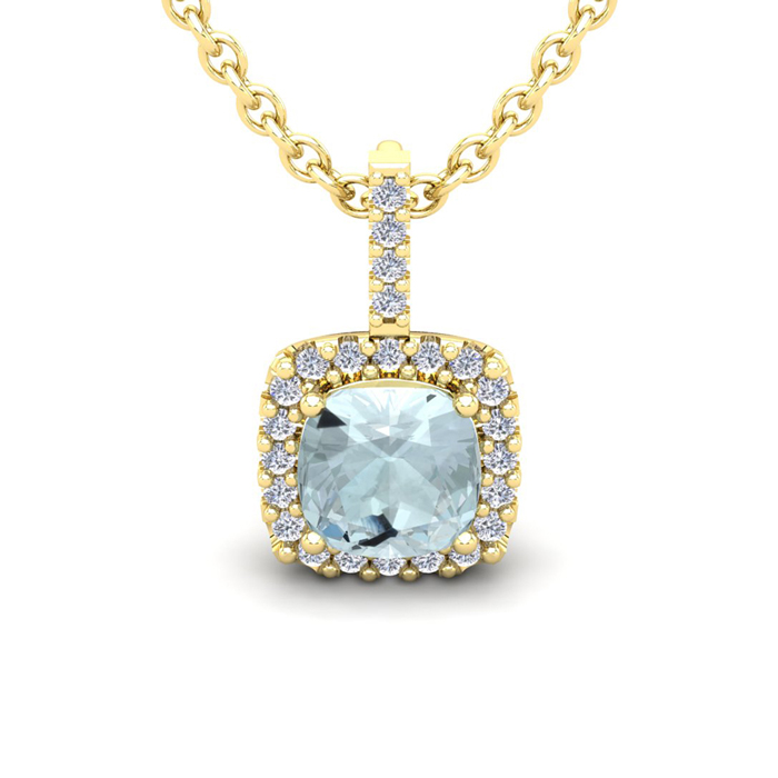 2 1/2 Carat Cushion Cut Aquamarine and Halo Diamond Necklace In 14 Karat Yel..