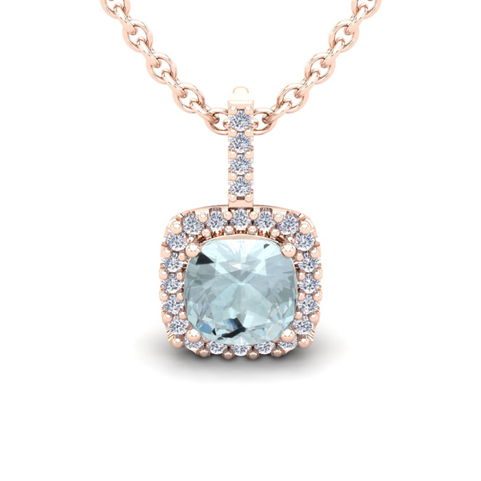 2 1/2 Carat Cushion Cut Aquamarine and Halo Diamond Necklace In 14 Karat Ros..