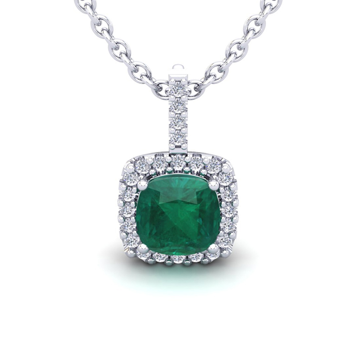 2.5 Carat Cushion Cut Emerald & Halo Diamond Necklace in 14K Whit