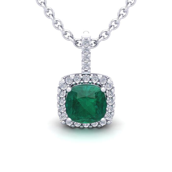 2 1/2 Carat Cushion Cut Emerald and Halo Diamond Necklace In 14 Karat White ..