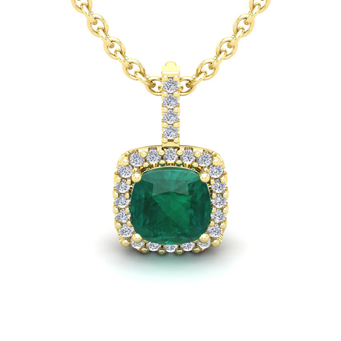 2.5 Carat Cushion Cut Emerald & Halo Diamond Necklace in 14K Yell