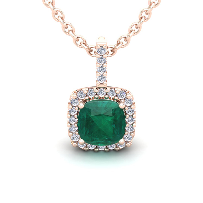 2.5 Carat Cushion Cut Emerald & Halo Diamond Necklace in 14K Rose