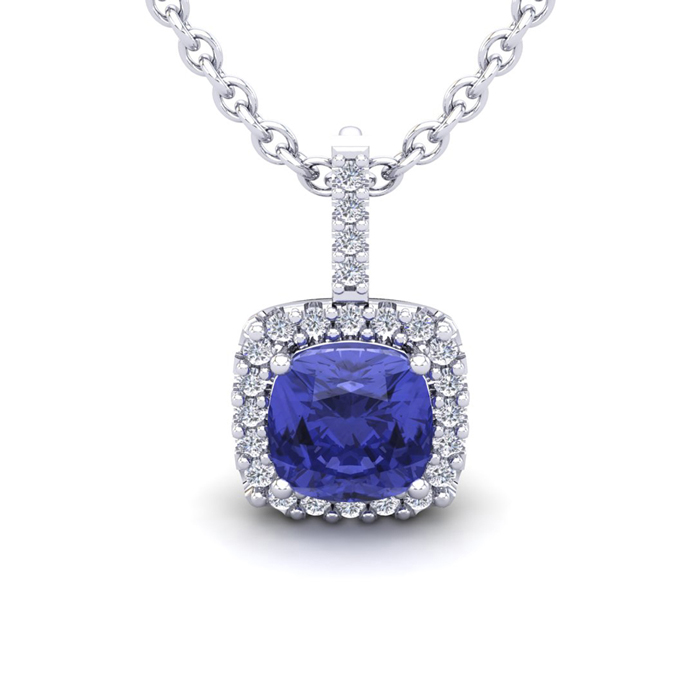 3 Carat Cushion Cut Tanzanite & Halo Diamond Necklace in 14K Whit