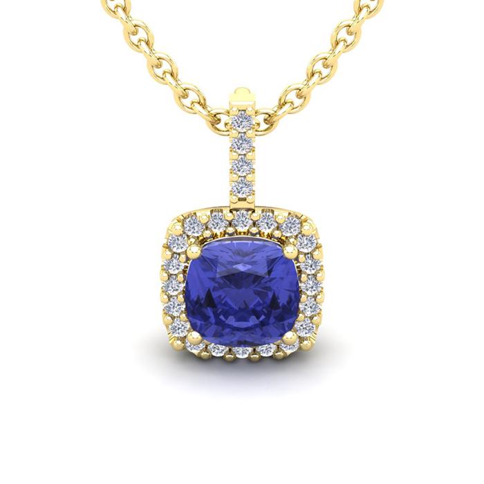 3 Carat Cushion Cut Tanzanite & Halo Diamond Necklace in 14K Yell