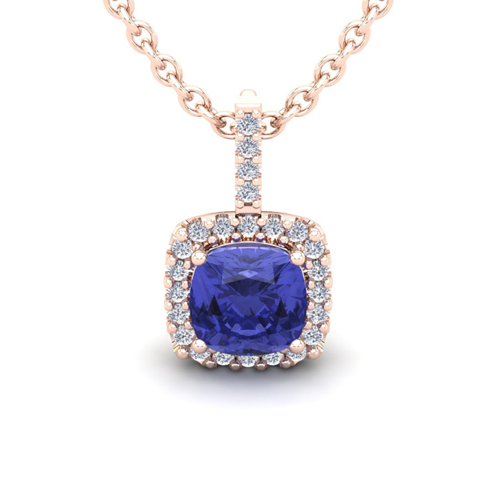 3 Carat Cushion Cut Tanzanite and Halo Diamond Necklace In 14 Karat Rose Gol..