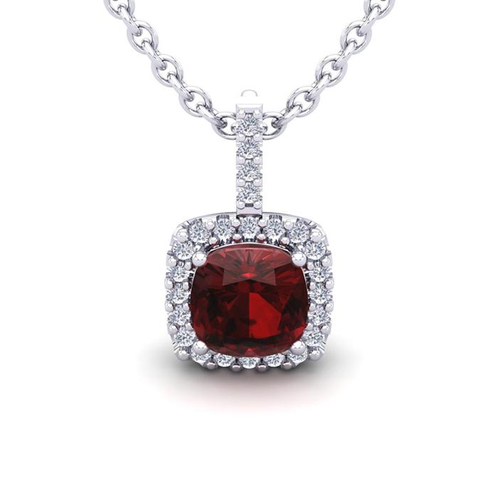 3 1/2 Carat Cushion Cut Garnet & Halo Diamond Necklace in 14K Whi