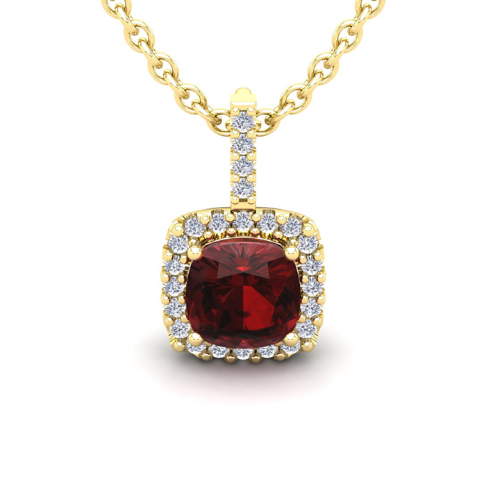 3 1/2 Carat Cushion Cut Garnet & Halo Diamond Necklace in 14K Yel