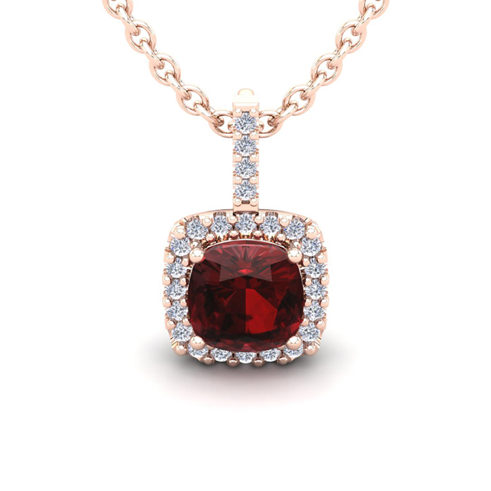 3 1/2 Carat Cushion Cut Garnet & Halo Diamond Necklace in 14K Ros
