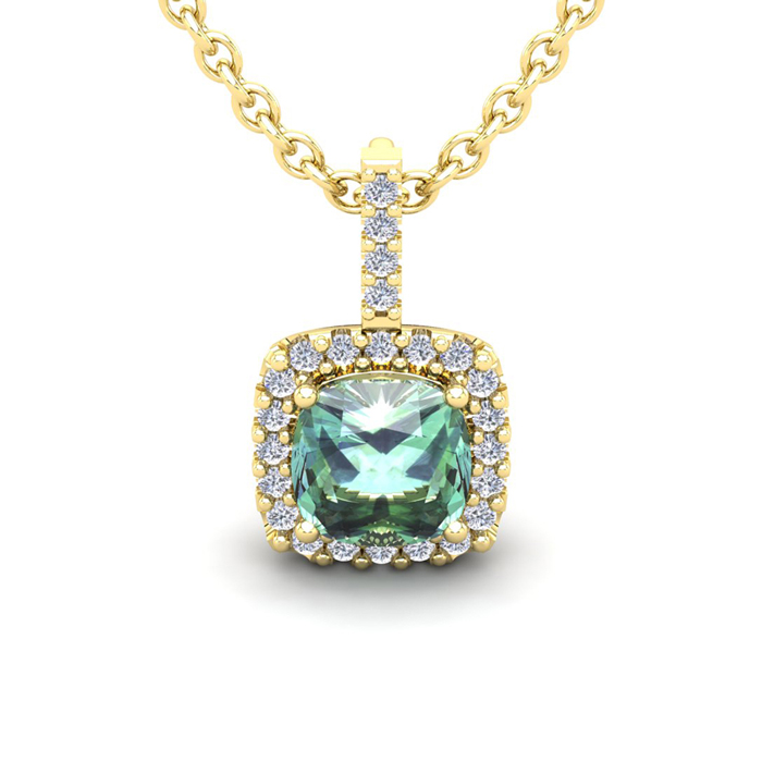 2.5 Carat Cushion Cut Green Amethyst & Halo Diamond Necklace in 1