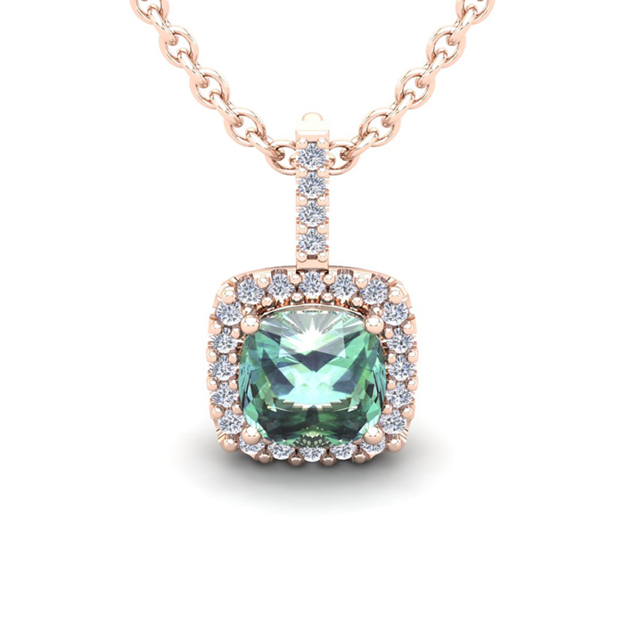2.5 Carat Cushion Cut Green Amethyst & Halo Diamond Necklace in 1