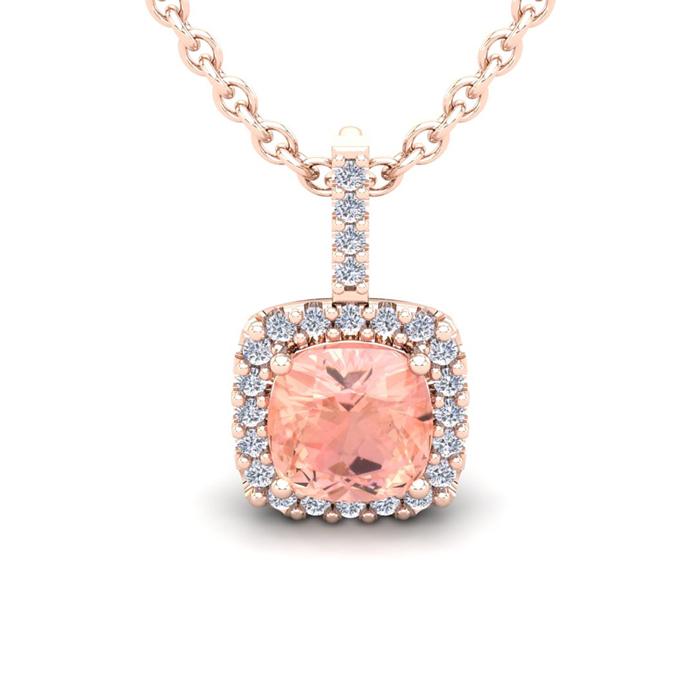 3 1/2 Carat Cushion Cut Morganite & Halo Diamond Necklace in 14K