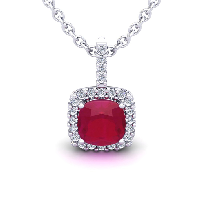 3 1/2 Carat Cushion Cut Ruby & Halo Diamond Necklace in 14K White