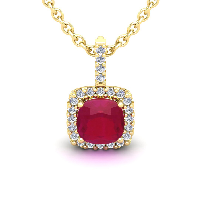 3 1/2 Carat Cushion Cut Ruby & Halo Diamond Necklace in 14K Yello