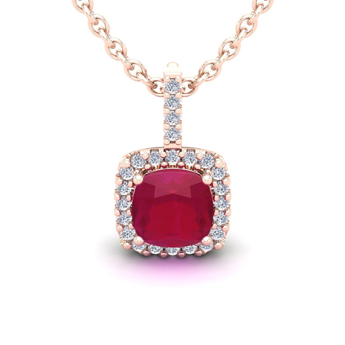 3 1/2 Carat Cushion Cut Ruby & Halo Diamond Necklace in 14K Rose