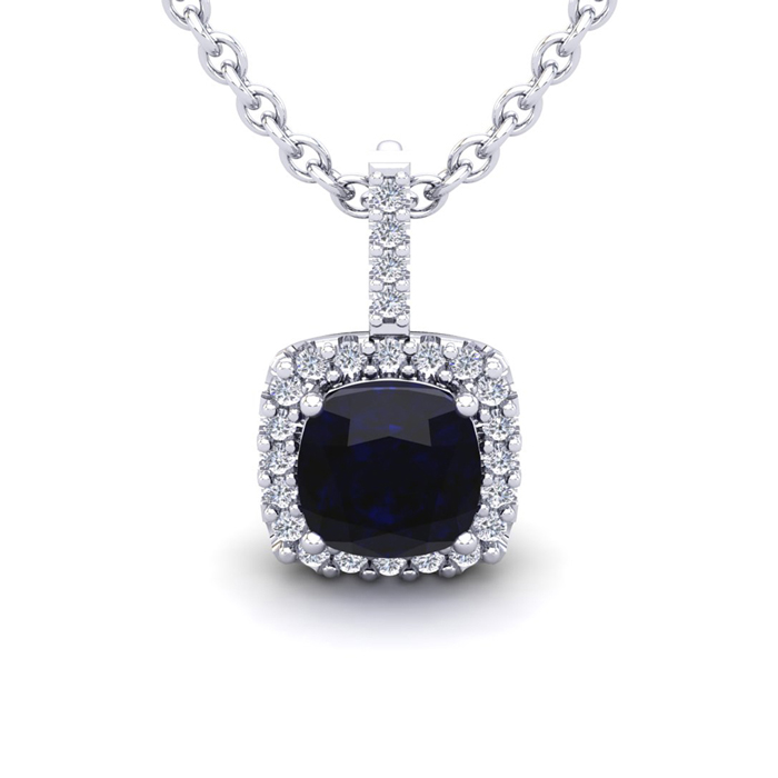 3 1/2 Carat Cushion Cut Sapphire & Halo Diamond Necklace in 14K White Gold (2.4 g), 18 Inches, I/J by SuperJeweler