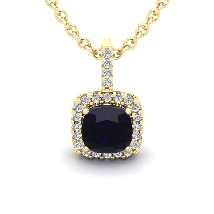 3 1/2 Carat Cushion Cut Sapphire & Halo Diamond Necklace in 14K Y