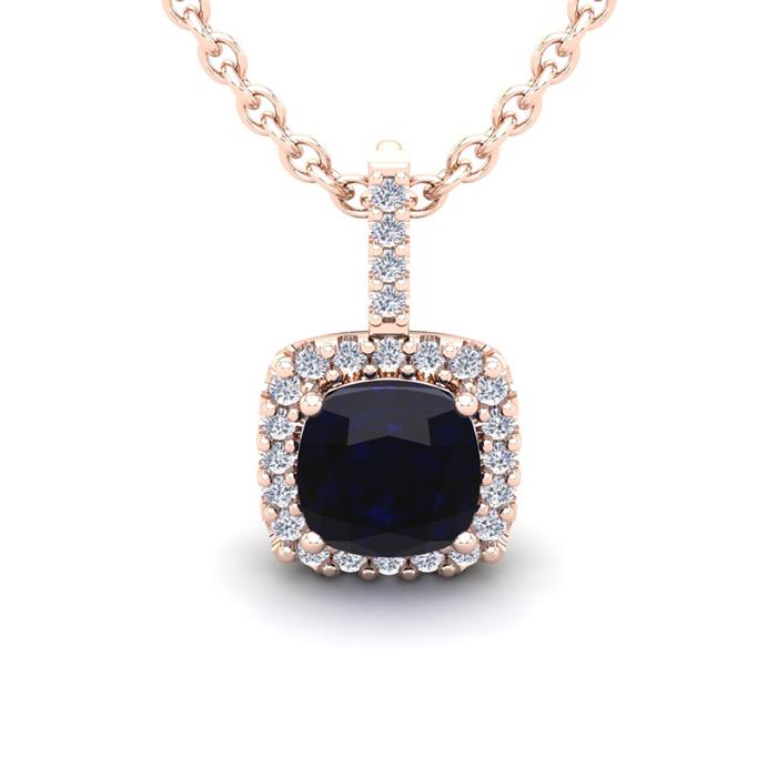 3 1/2 Carat Cushion Cut Sapphire & Halo Diamond Necklace in 14K R