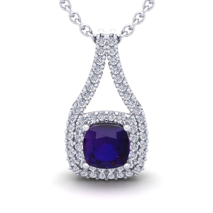 2 Carat Cushion Cut Amethyst & Double Halo Diamond Necklace in 14