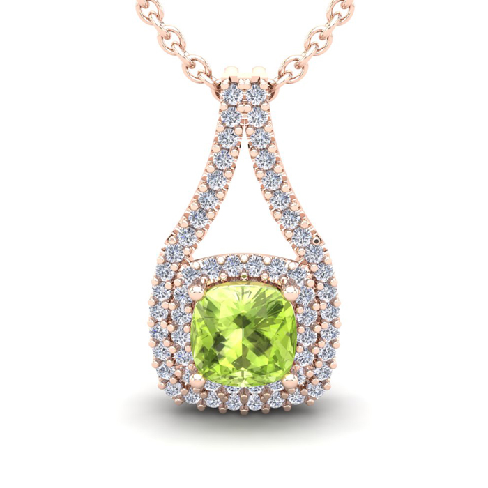 2 Carat Cushion Cut Peridot & Double Halo Diamond Necklace in 14K