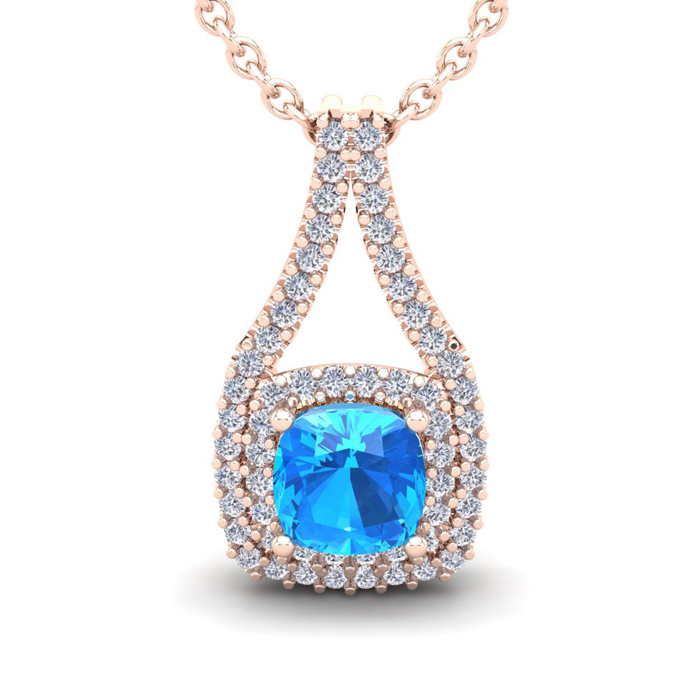 2 1/3 Carat Cushion Cut Blue Topaz & Double Halo Diamond Necklace in 14K Rose Gold (3.5 g), 18 Inches, I/J by SuperJeweler