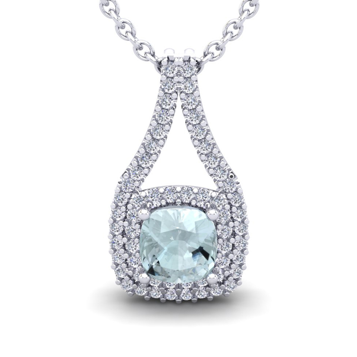 2 1/4 Carat Cushion Cut Aquamarine and Double Halo Diamond Necklace In 14 Ka..
