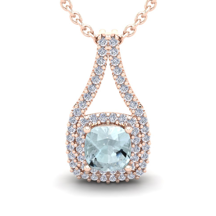 2 1/4 Carat Cushion Cut Aquamarine & Double Halo Diamond Necklace