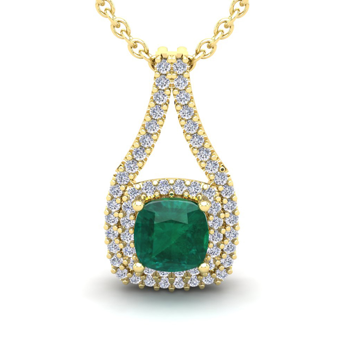 2 Carat Cushion Cut Emerald & Double Halo Diamond Necklace in 14K