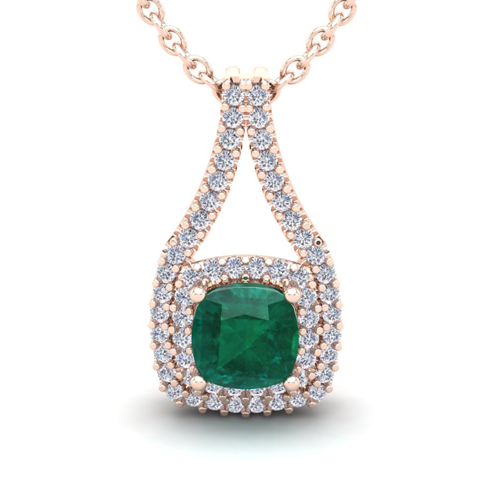 2 Carat Cushion Cut Emerald & Double Halo Diamond Necklace in 14K