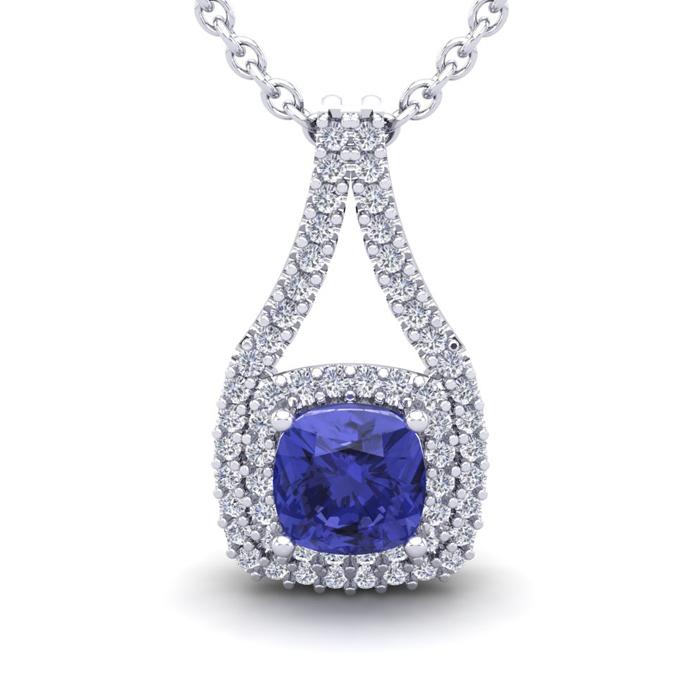 2 Carat Cushion Cut Tanzanite & Double Halo Diamond Necklace in 1
