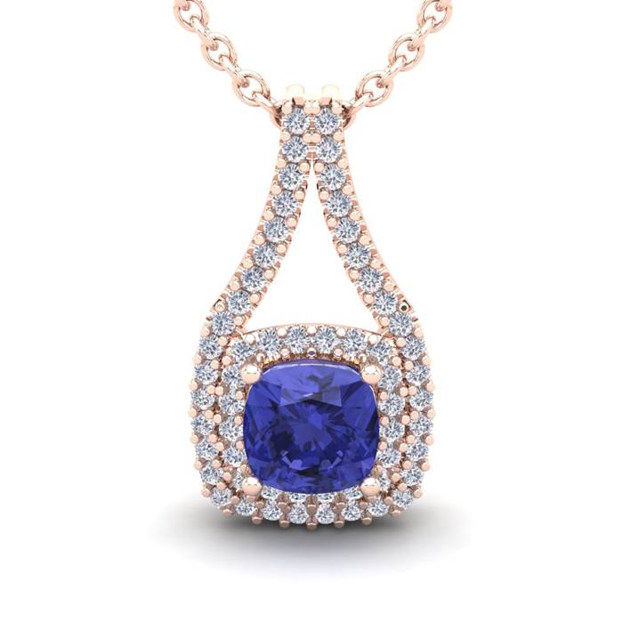2 Carat Cushion Cut Tanzanite & Double Halo Diamond Necklace in 1
