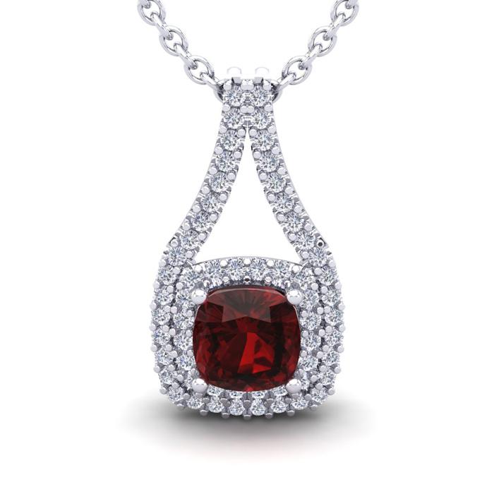 2 Carat Cushion Cut Garnet & Double Halo Diamond Necklace in 14K